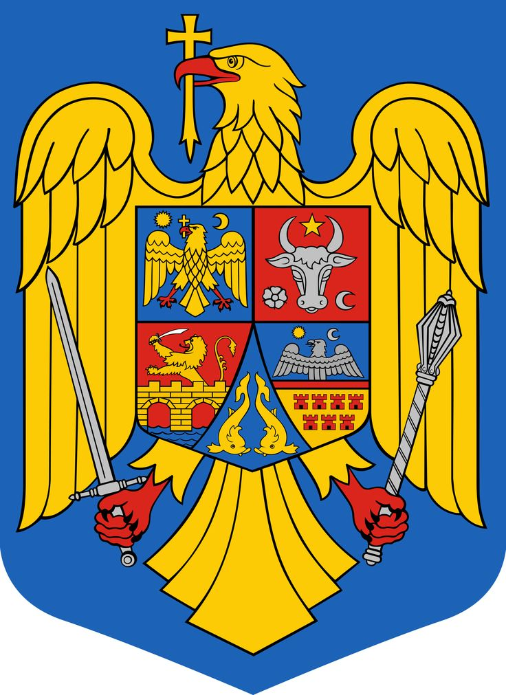 The coat of arms of Romania was adopted in the Romanian Parliament on 10 September 1992 as a representative coat of arms for Romania. It is based on the Lesser Coat of Arms of the Kingdom of Romania (used between 1922 and 1947), redesigned by Victor Dima. As a central element it shows a golden aquila holding a cross in its beak and a mace and a sword in its claws. It also consists of the three colors: red, yellow, and blue, which represent the colors of the national flag.