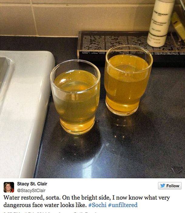 """Sochi Winter Olympic Games: Journalist discovers """"very dangerous"""" tap water at Sochi hotel.  Welcome to Russia. #sochi2014"""