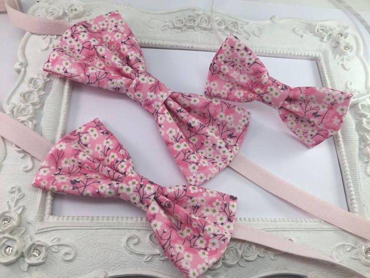 Set 3 Noeud Papillon Liberty Mitsi Valeria Orchidée rose - Homme, Enfant et Serre-tete : Cravates par fleurs-de-provence