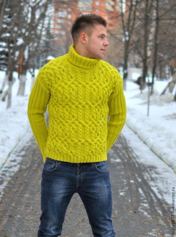 """Купить Свитер мужской """"Яркий фрукт"""" - салатовый, араны, свитер, ручная работа, вязание на заказ"""