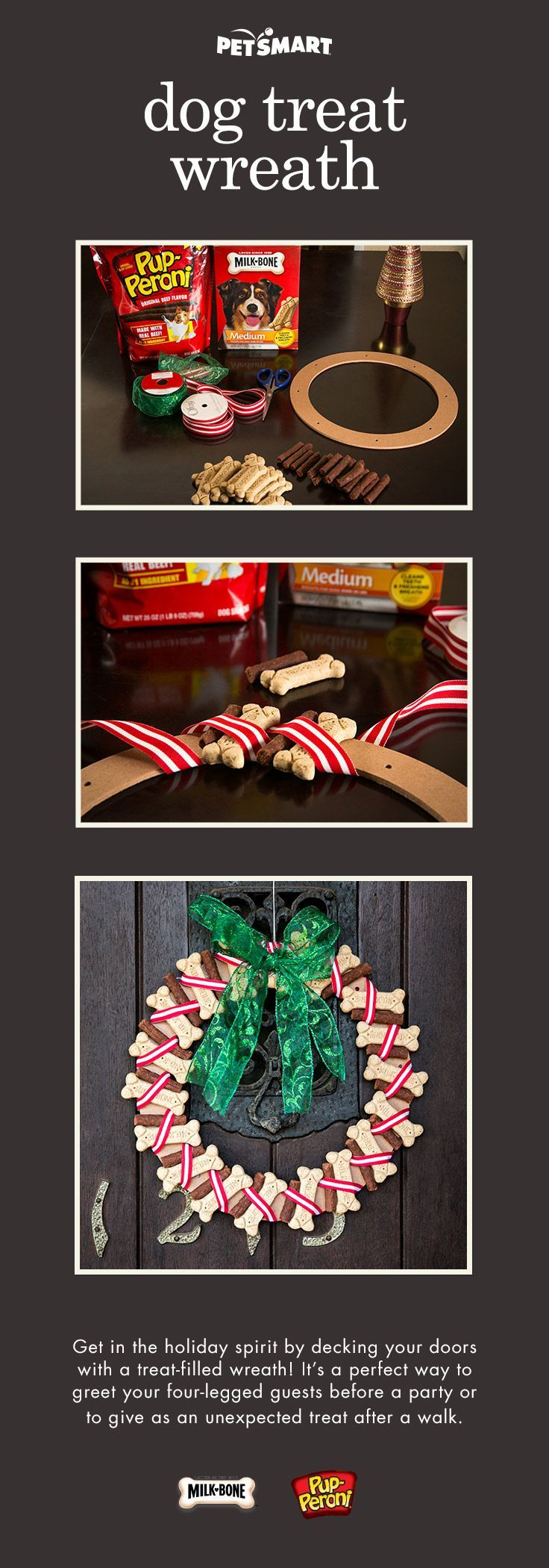 Keep your dog treats handy and festive with this DIY treat wreath!