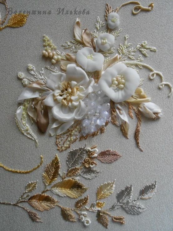 White flowers with silver gold and copper leaves ribbon