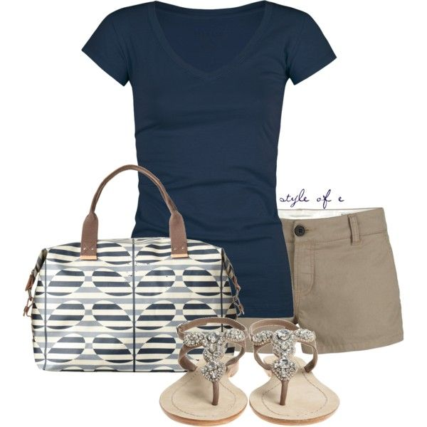 """""""Blue and Khaki"""" by styleofe on Polyvore"""