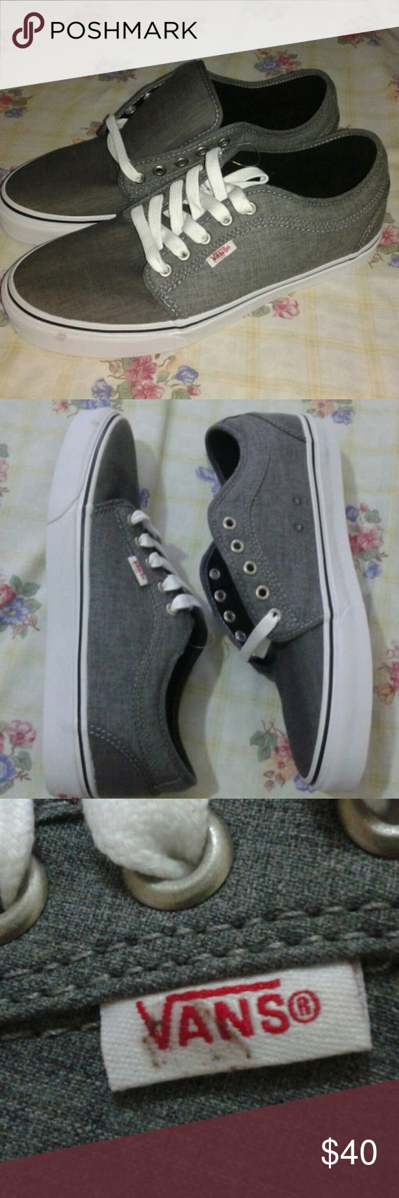 New Vans Pro Chukka Grey Chambray Shoes Sz 8.5 Hi, for sale are a new pair of Vans Chukka shoes in a men's size 8.5 Even though they are new they have two defects which are pictured. Vans Shoes