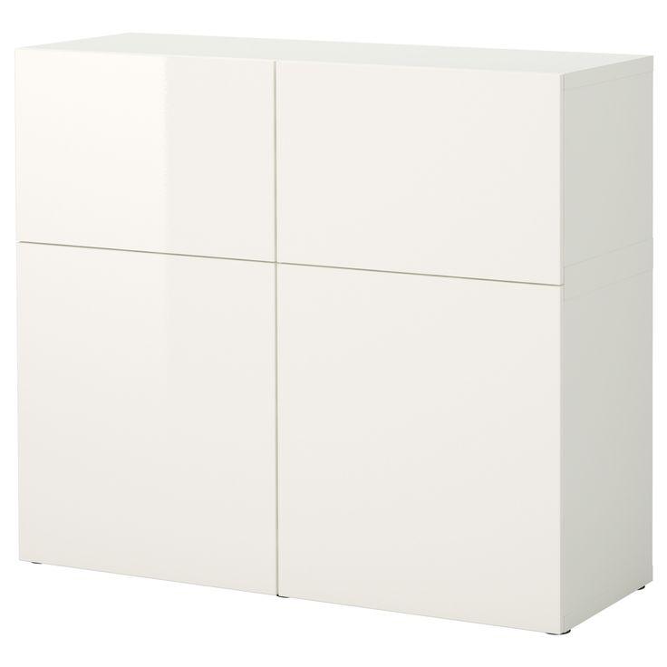 BESTÅ Säilytyskokonaisuus+ovet - valkoinen/korkeakiilto valkoinen - IKEA