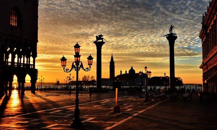 city, sunset, france, lamp, street, sky, river