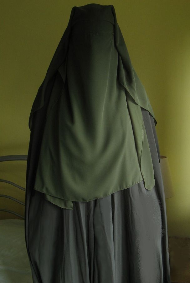 Grey abaya and multi layer green niqaab