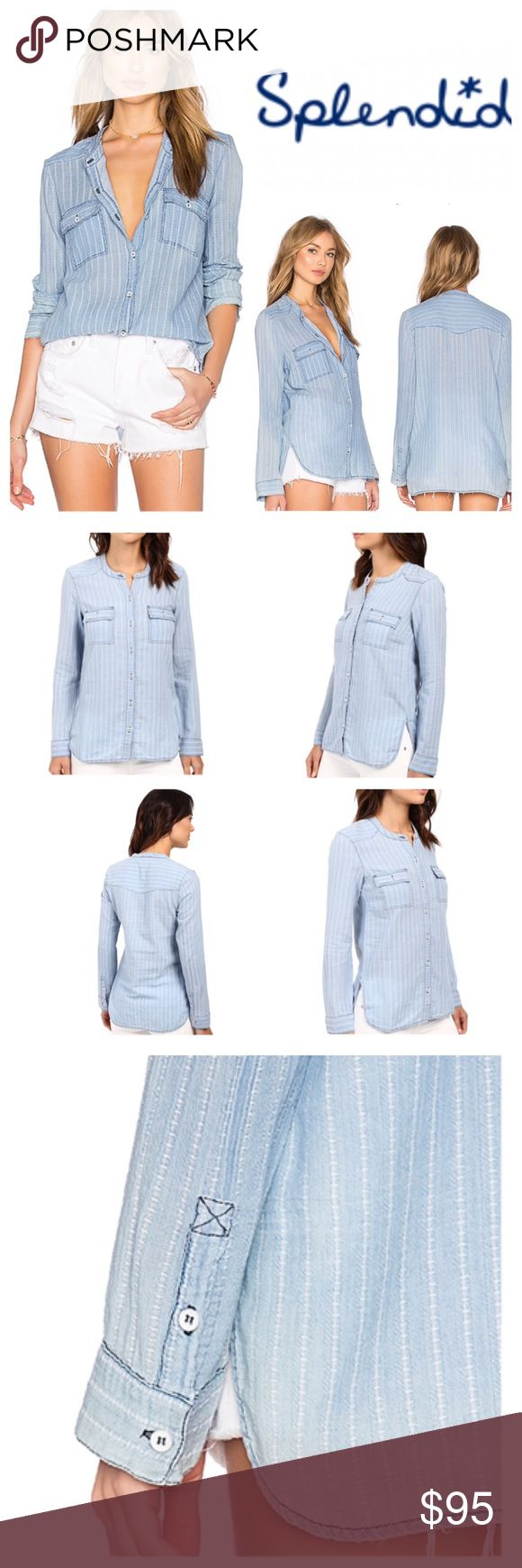 Splendid Button Up Shirt A sleek button-up with a double-styled chic. Relaxed fit. Ultra-soft chambray shirt flaunts an allover stripe. Collarless design. Long sleeve features button cuffs. Dual chest pockets with flap closures. Front button closure. Shirttail hemline. 100% cotton. Hand wash cold, lay flat to dry. Splendid Tops