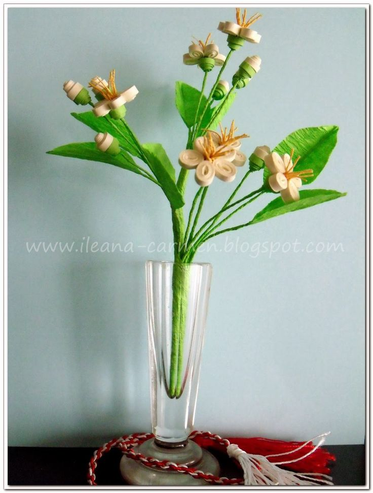 Quilling 3d - Blooming Branches with White Flowers