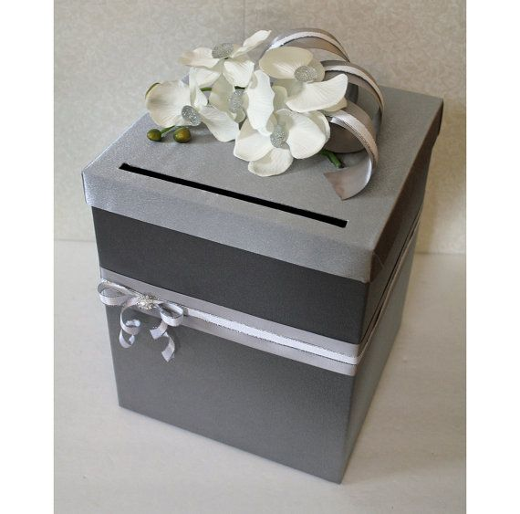 Gray, silver, white jeweled orchid wedding card box. - mom, think we could make something like this?!