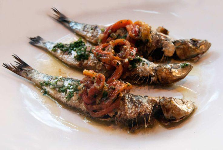 Read Adam Platt's review of the Portuguese-Inspired Lupulo. Sardinhas assadas com pimentos: grilled whole Portuguese sardines and blistered pepper salad.