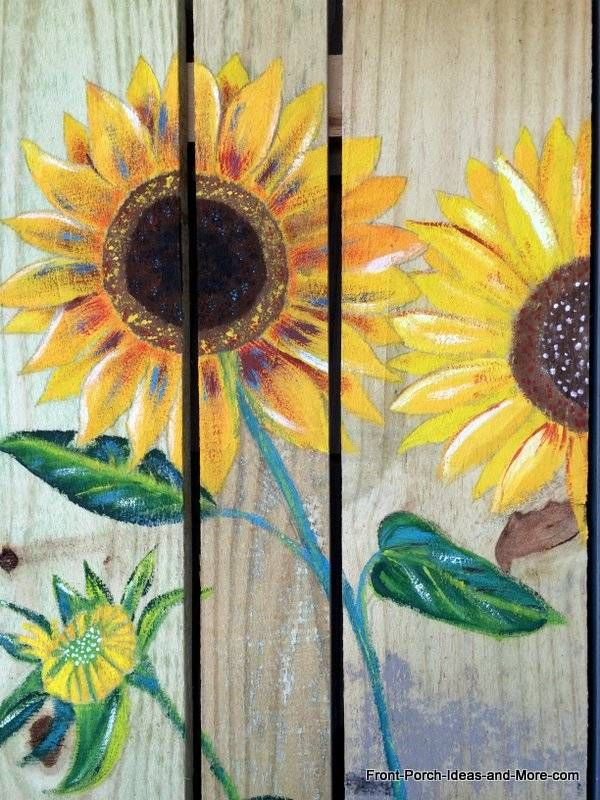 Close-up of the sunflower painting I did for our porch