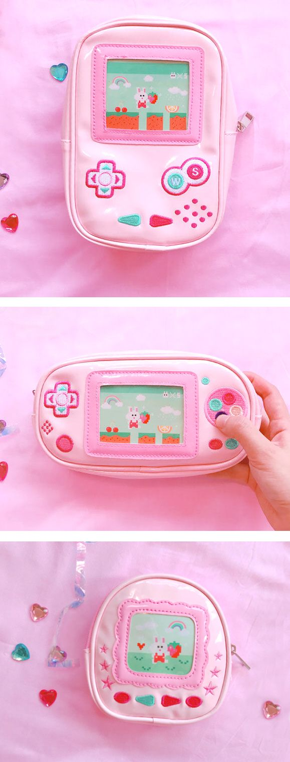 CUTE MAKEUP BAG - pink zipper pouch purse looks like a handheld video game. Video game birthday party idea gift for gamer girl. korean fashion, girly outfits & things, gaming geek humor chic, gift for teen girl, skater girl, outfits to wear to school, girl power, girls night out outfit ideas, homecoming or prom purses, school outfits for teens, anime clothes, kawaii fashion clothes, festival fashion, rave outfits. Affiliate Link.