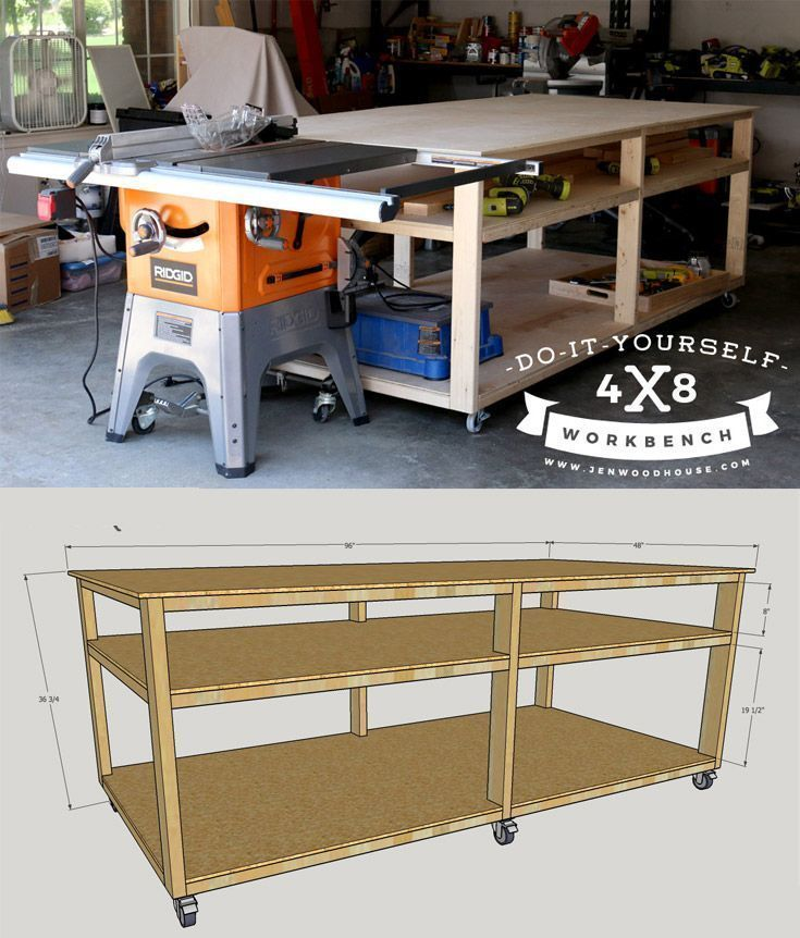 How to build a DIY workbench - free plans and tutorial! Build this workbench for about $100. LOVE that it is on rollers so could roll out of the way in garage