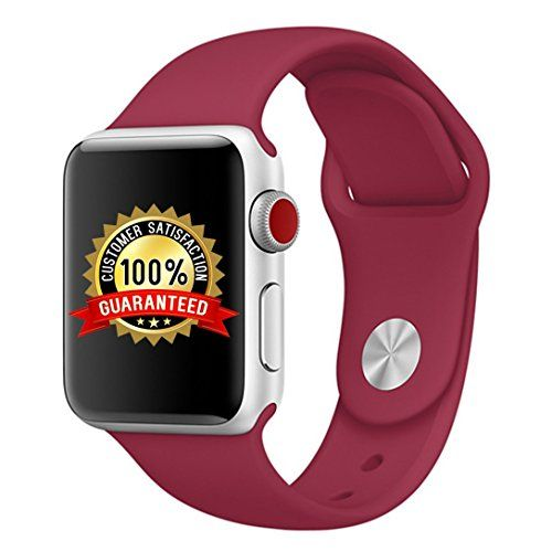Sport Band for Apple Watch 42mm M/L Soft Silicone Strap Replacement Bands for Apple Watch Sport Series 3 Series 2 Series 1 (42mm Rose Red)