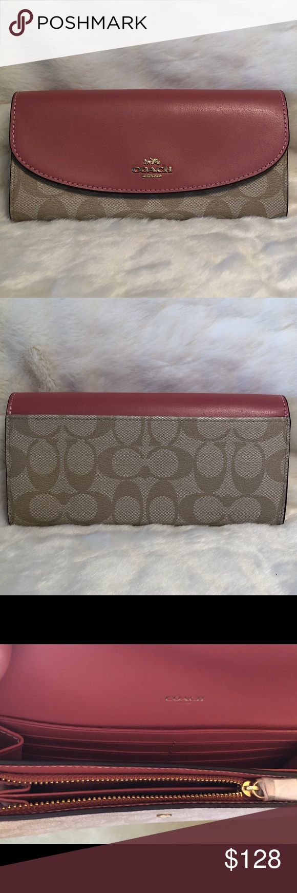 ✨Coach slim wallet – Peony * New without tags * Light khaki signature Coach …