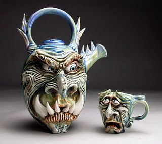 Grafton pottery, he is amazing.  The hot tea pot pouring into the poor cup.  The sculpture captures the fear and pain on the cups face, simply amazing.