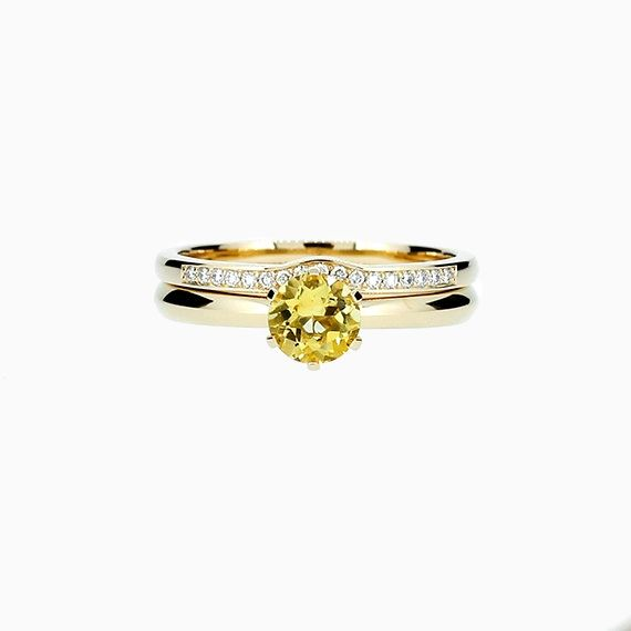 Solitaire Engagement Ring Set with Citrine
