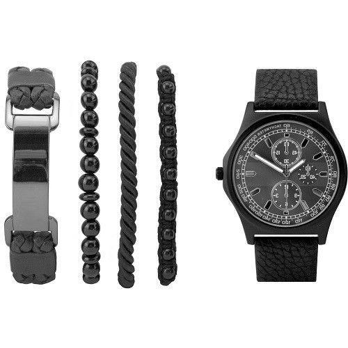 Watch Gunmetal Men Chronograph Invicta Black Faux Leather Band Steel 4 Bracelets #Generic