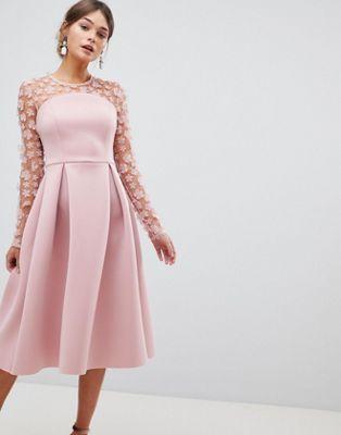 ASOS DESIGN 3D floral lace bandeau scuba prom midi dress