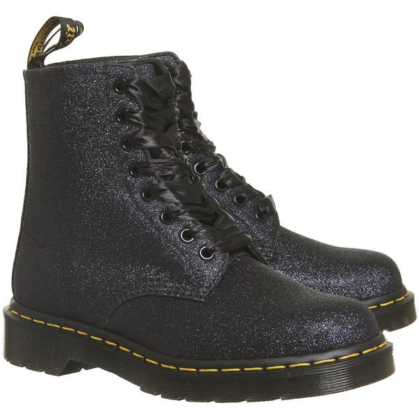 Dr. Martens 8 Eyelet Lace Up Boots Black Silver Glitter (2.098.790 IDR) ❤ liked on Polyvore featuring shoes, boots, black and silver boots, dr martens shoes, dr martens footwear, dr martens boots and glitter boots