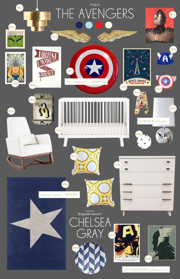 BHG Style Spotter Joni Lay created this nursery style board inspired by The Avengers! Read more posts here: http://www.bhg.com/blogs/better-homes-and-gardens-style-blog/?socsrc=bhgpin061812