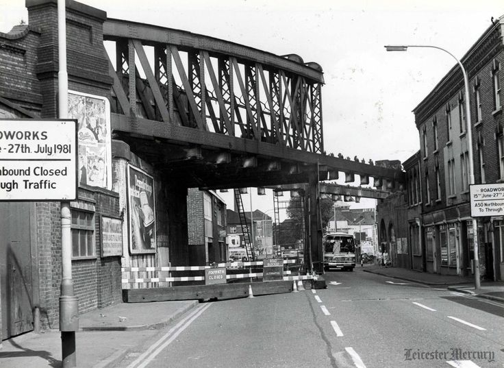 The demolition of Northgate Street bridge, Leicester, in July 1981.  Photo from Leicester Mercury