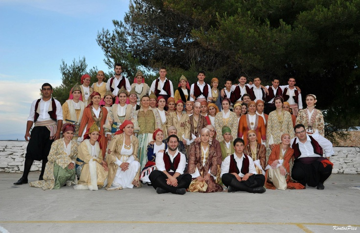 sifnians in their traditional costumes after dance!Sifnos ,west cyclades,Greece