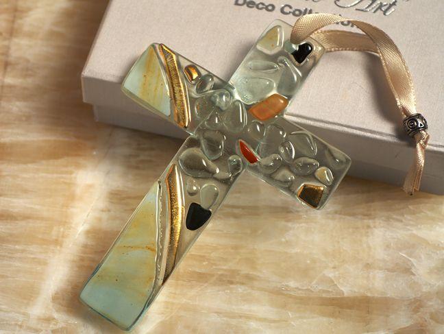 Murano art deco collection glass cross