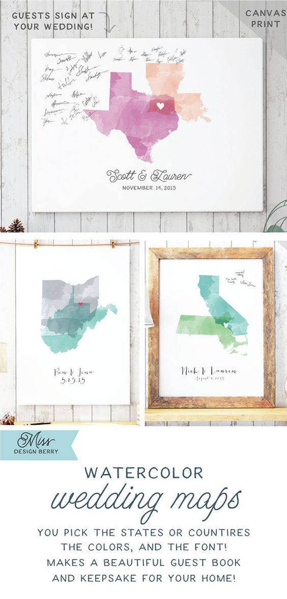 Watercolor Two state wedding maps are fun guest book alternatives that you get to customize with the states or countries of you choice, and in the colors of your choice!