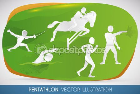 Poster with Modern Pentathlon Events