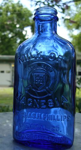 Old Cobalt Blue Philips Milk of Magnesia Medicine Bottle. Beautiful brilliant blue color, great condition with good, strong embossing!