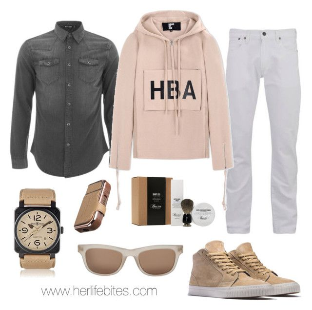 """""""Neutrals for him"""" by caritoviena on Polyvore featuring Baxter of California, BLK DNM, Hood by Air, HUF, Yves Saint Laurent, Bell & Ross, men's fashion and menswear"""