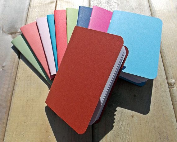 Handmade Mini Notebook -  Choose From 28 Colors - Field Journal - Art Journal - Blank - Sketchbook - 3.5x5 - Pocket - Kraft - Jotter