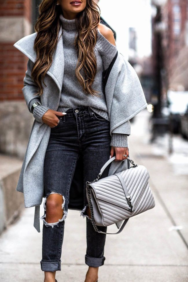 29 JAN, 2018 The Secret To Dressing Well - Outfit Details: Mango Gray Coat Cold Shoulder Sweater Gray Distressed Denim Christian Louboutin Heels Saint Laurent College Bag Saint Laurent Sunglasses Cuff Bracelet