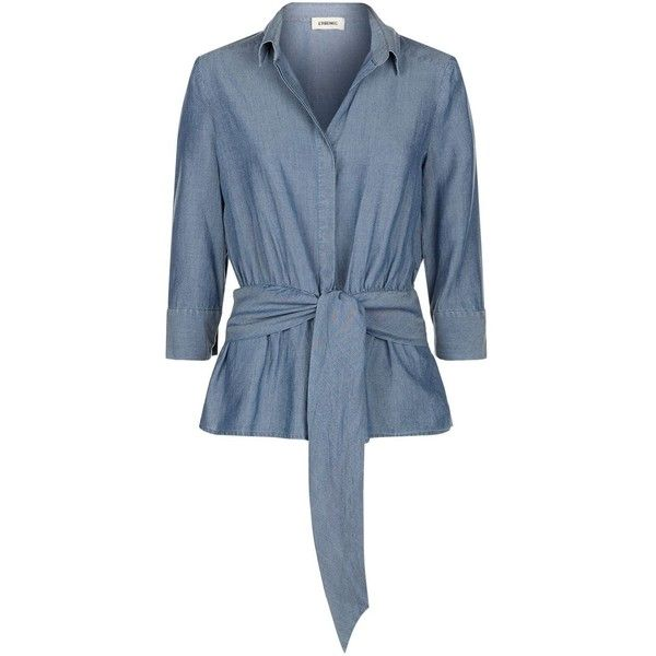 L'Agence Colette Tie Front Chambray Shirt (4 240 SEK) ❤ liked on Polyvore featuring tops