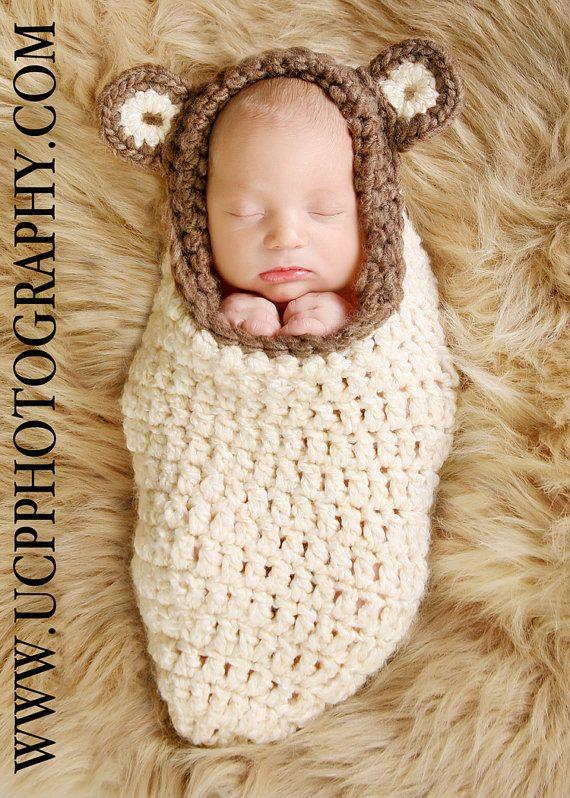 2. For baby to sleep. Newborn Cream and Brown Bear Cocoon Pod.