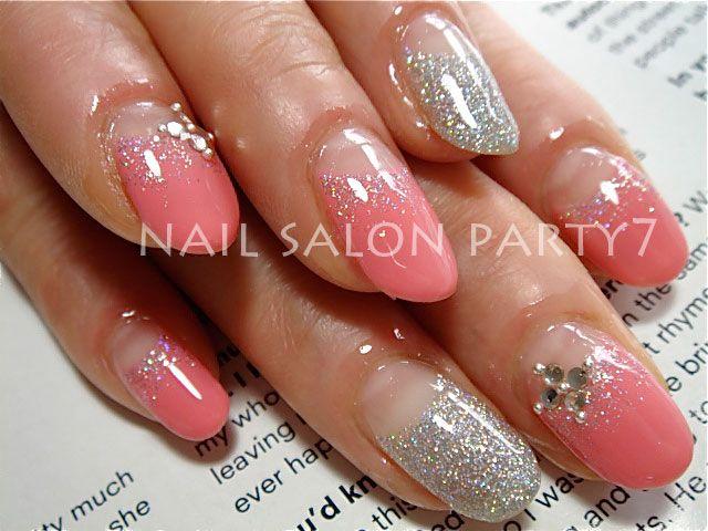 【カルジェル】コーラルピンク&シルバーの逆フレンチネイル☆ : nail salon PARTY7の店長日記2