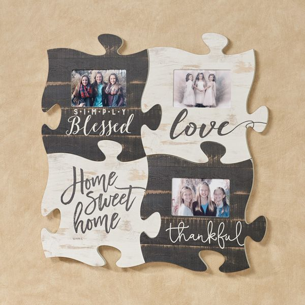 Create A Blessed Home Collage Display With This Photo Frame Puzzle Piece Wall Art Painted Wooden Wall Acce Puzzle Piece Crafts Frames Diy Crafts Puzzle Crafts