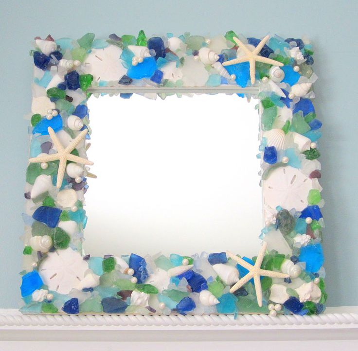 Seaglass and Starfish Mirror in Two Sizes