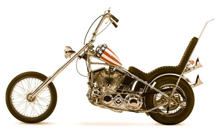 One of two Harley-Davidson motorcycles 'Captain America' ridden by Peter Fonda in the 1969 movie Easy Rider.
