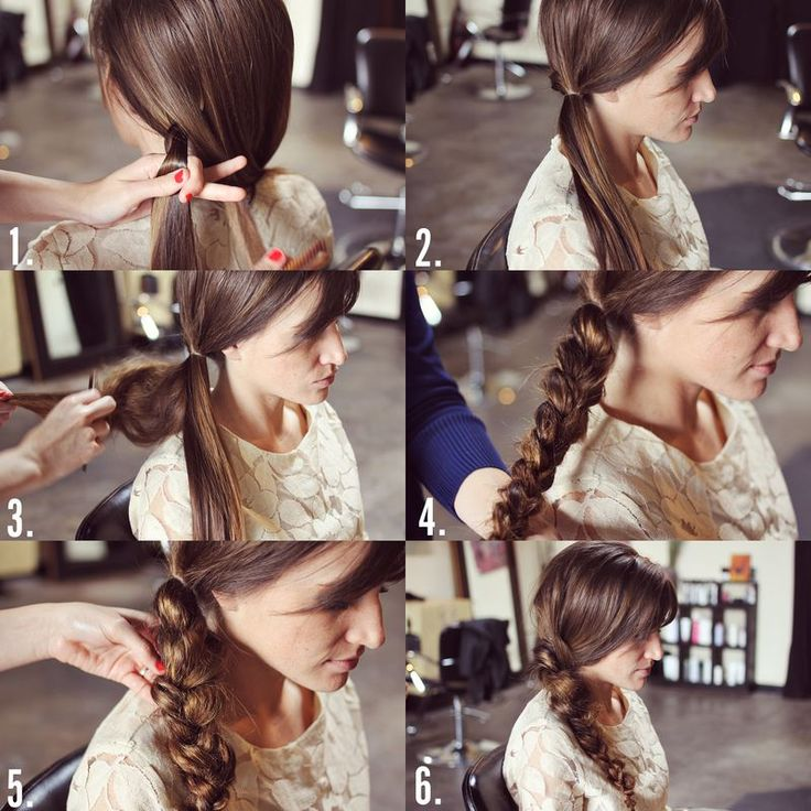 Messy Braid   1. French braid hair from the back to the side. (use this method, but in the back) 2. Use a hair elastic to tie a side ponytail. 3. Using a comb, tease the ponytail as much as possible. 4. Braid the teased hair into a regular braid. 5. Pull the braid so that it's uneven and loose. Cut the hair elastic off. (Be very careful not to cut any hair)