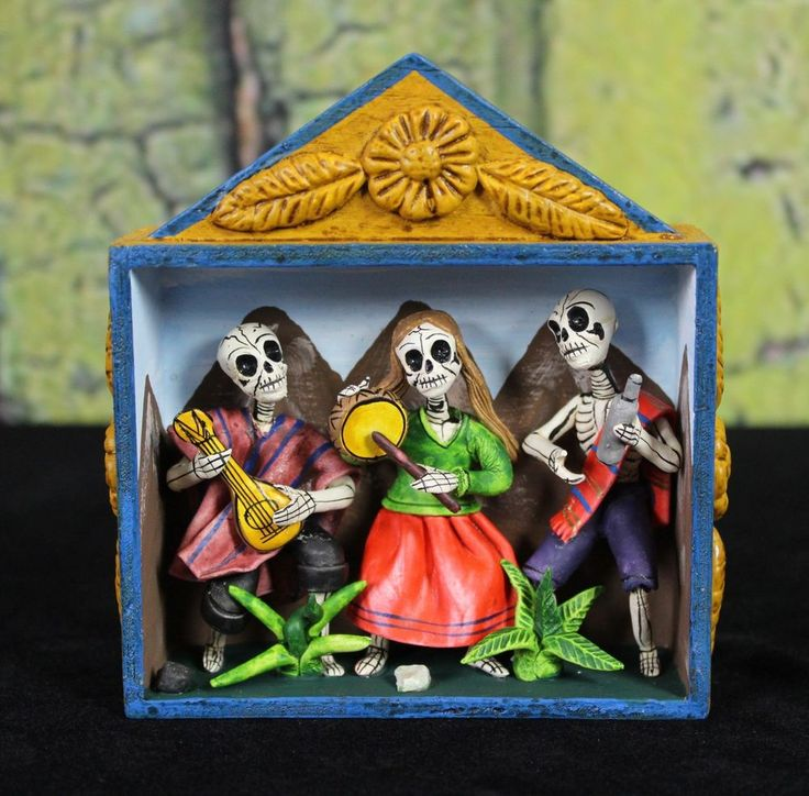 Day of the Dead Musicians Hand Made Retablo Nicho Folk Art Peru Dias los Muertos