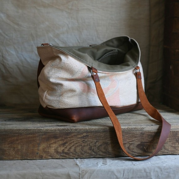 Leather Bottomed Feed Sack Carryall