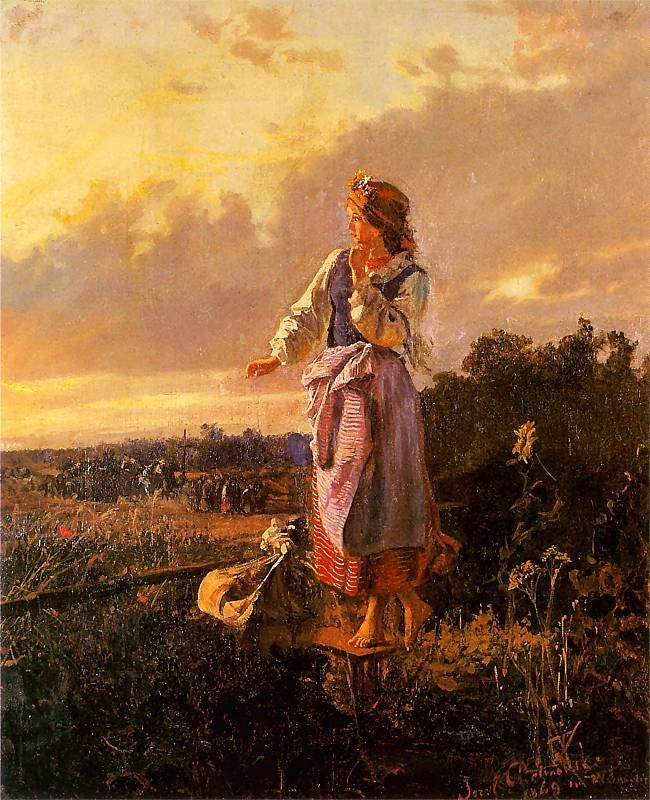 Józef Chełmoński......W ogródku  1869. Olej na płótnie. 53,5 x 44,5 cm.  Muzeum Sztuki, Łódź.