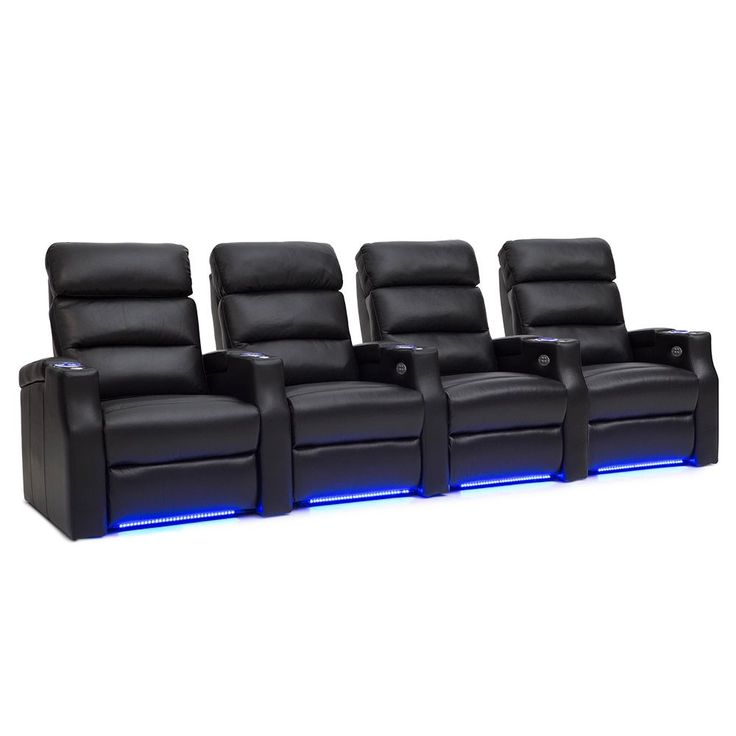 Barcalounger Matrix Leather Home Theater Seating Power Recline - Row of 4,