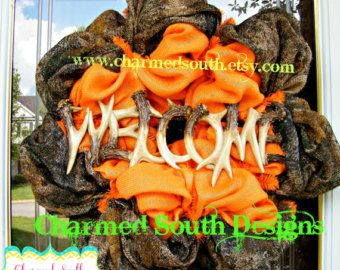 camo burlap wreath | ... burlap Wreath, front door decor, hunting wreath, charmed south wreath