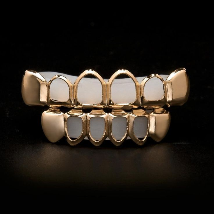 Hip Hop Custom Real Rose Gold Plated Vampire Teeth Four Hollow Open Face Gold Mouth Grillz Caps Top & Bottom Grill Set Jewelry