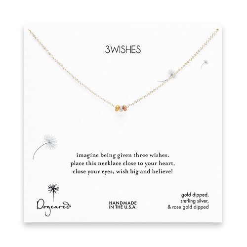 3 wishes mixed stardust bead necklace on gold dipped chain $52