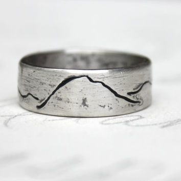 Amazing rustic mountain wedding band ring ecofriendly recycled silver wide mountain landscape band unisex alternative